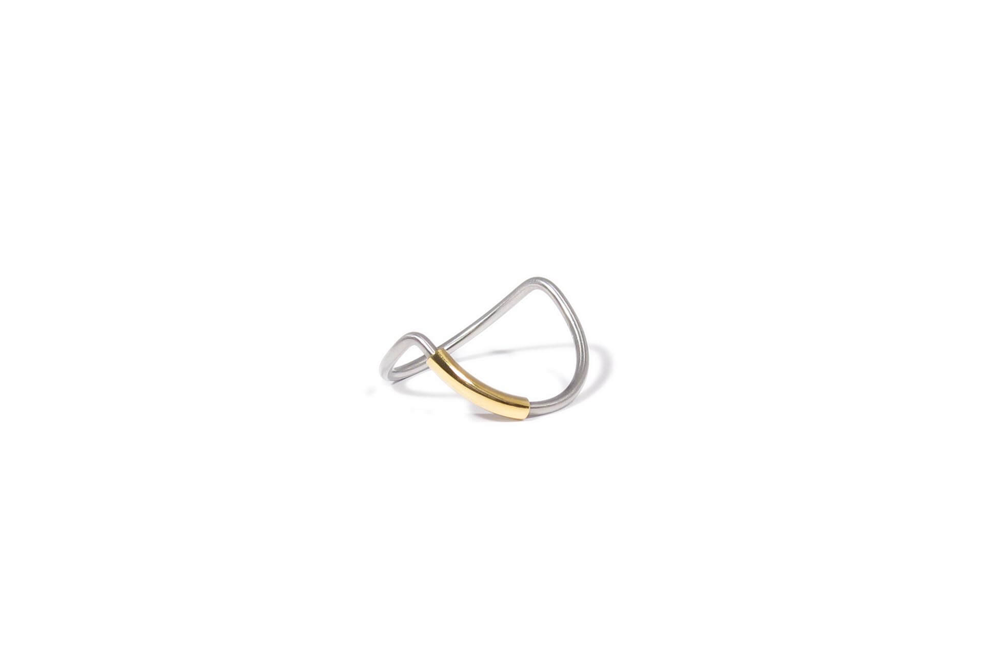 Bram van Huis Stainless steel ring with gold accent