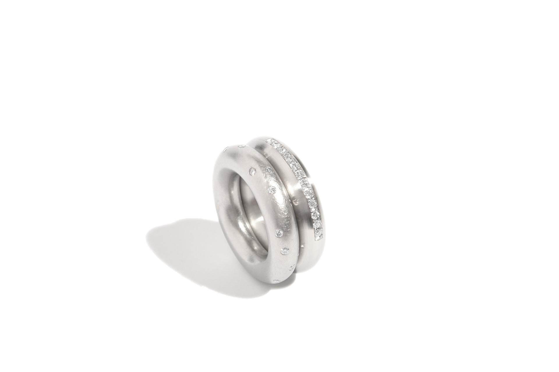 Two bullet round stainless steel rings with diamonds, 6mm wide