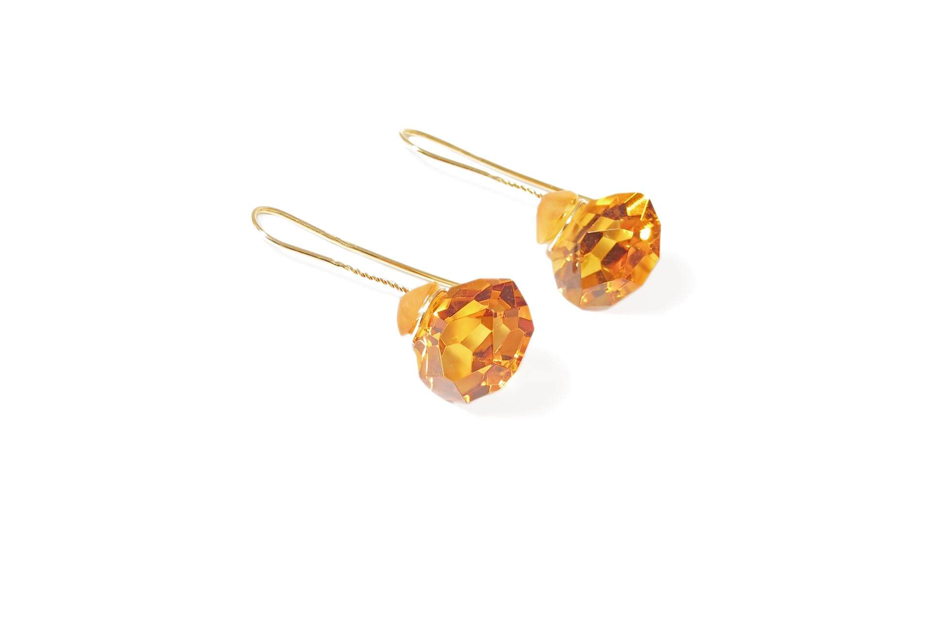 Annette Ehinger yellow gold earrings with orange citrines.