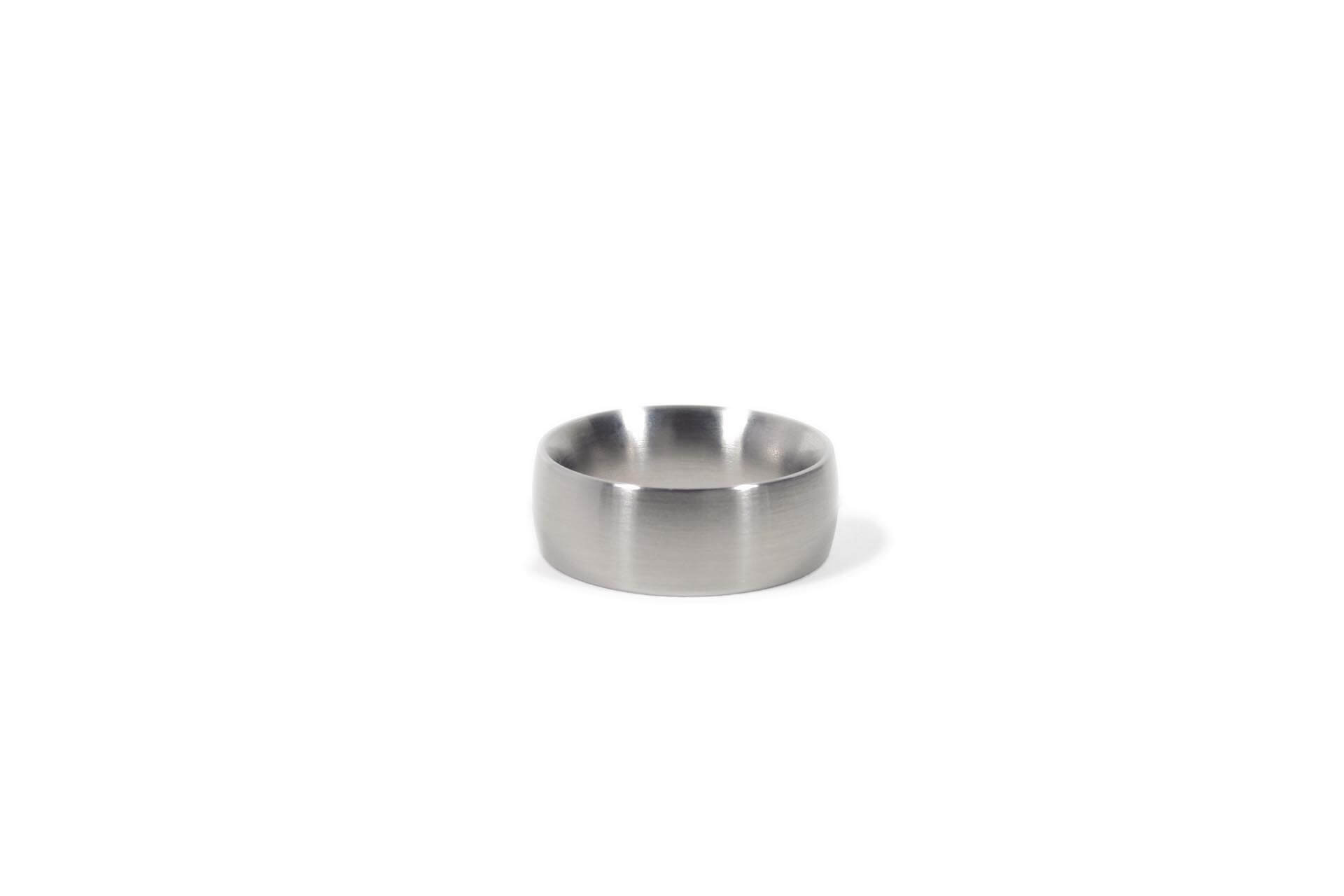 Stainless steel oval ring, side view.