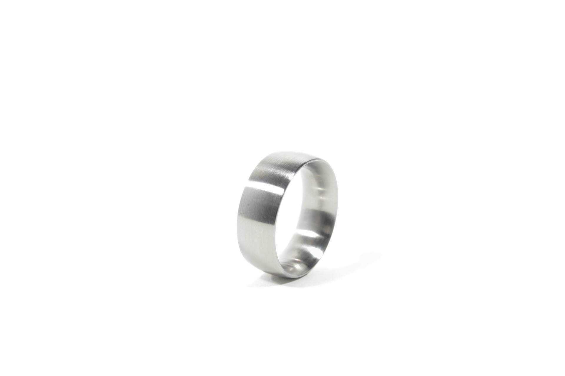 Stainless steel oval ring, top view.