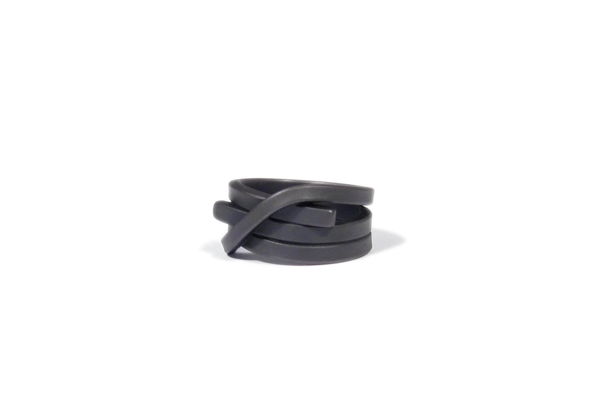 Oliver Schmidt black stainless steel knot ring