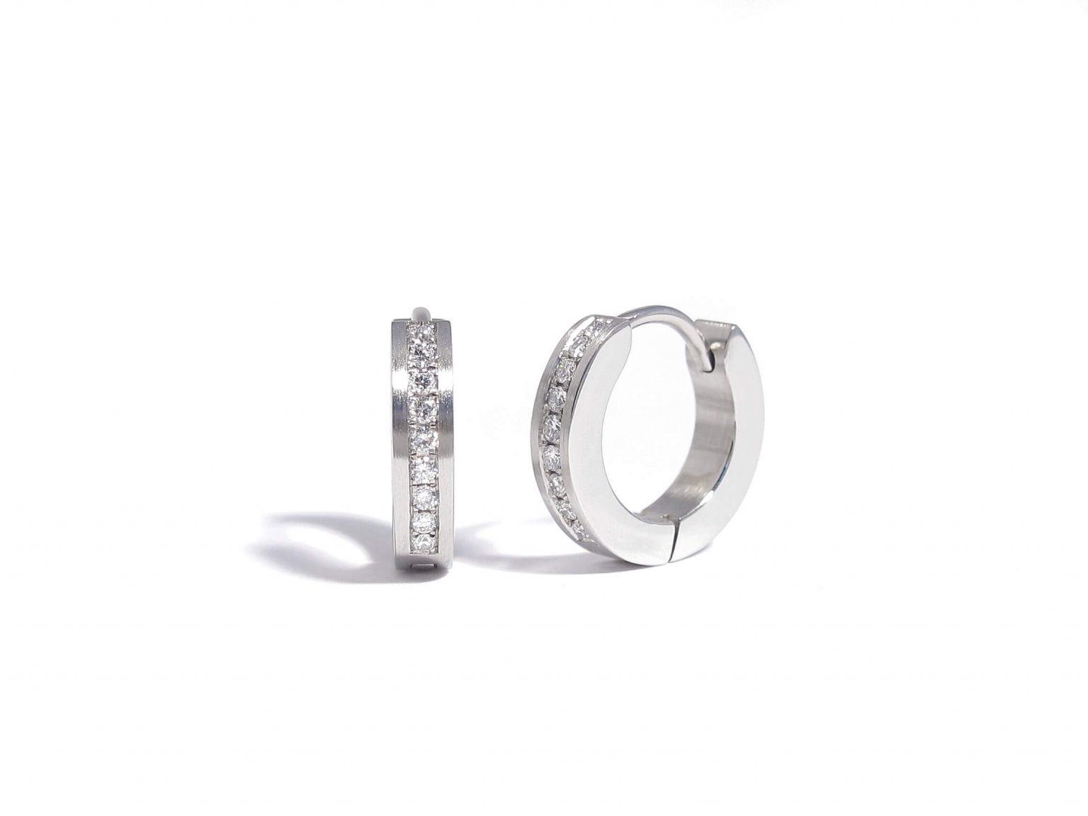 diamond and steel earrings