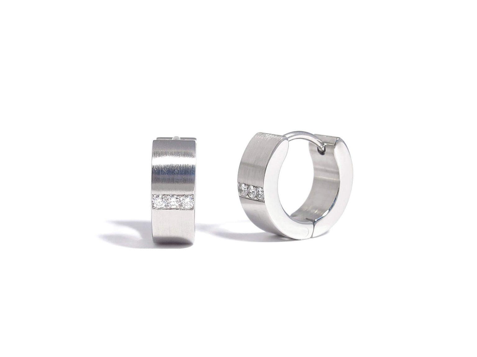 diamond and steel steel creole earrings