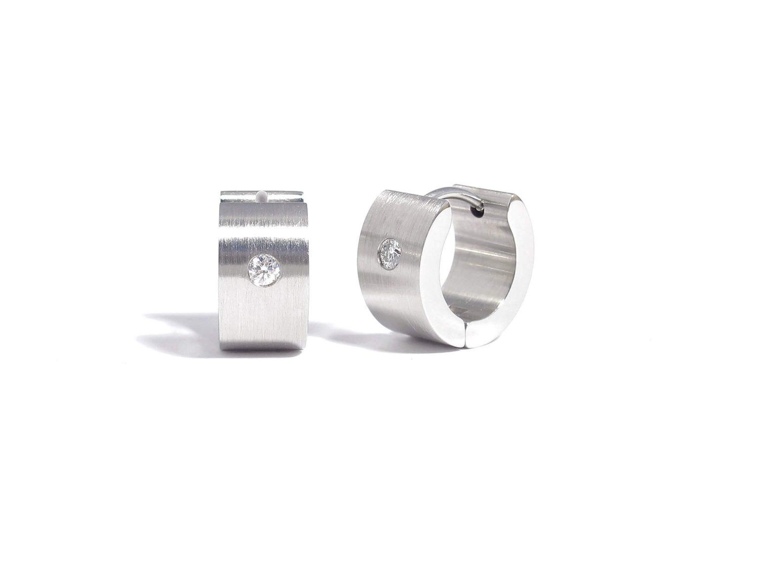 diamond and steel creole earrings