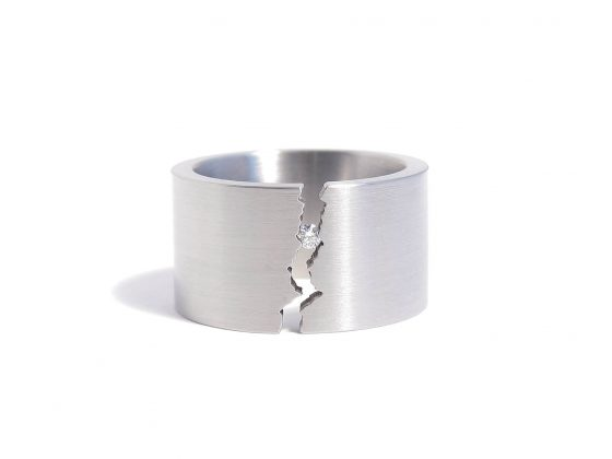 wide steel and diamond ring