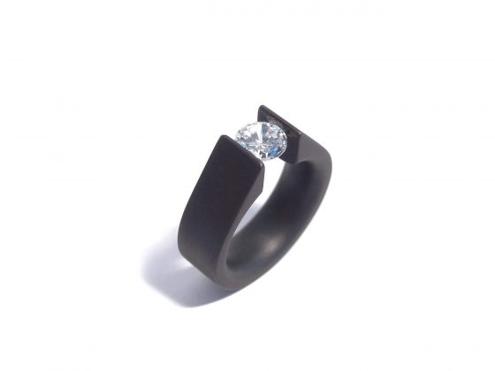 black steel and diamond tension ring