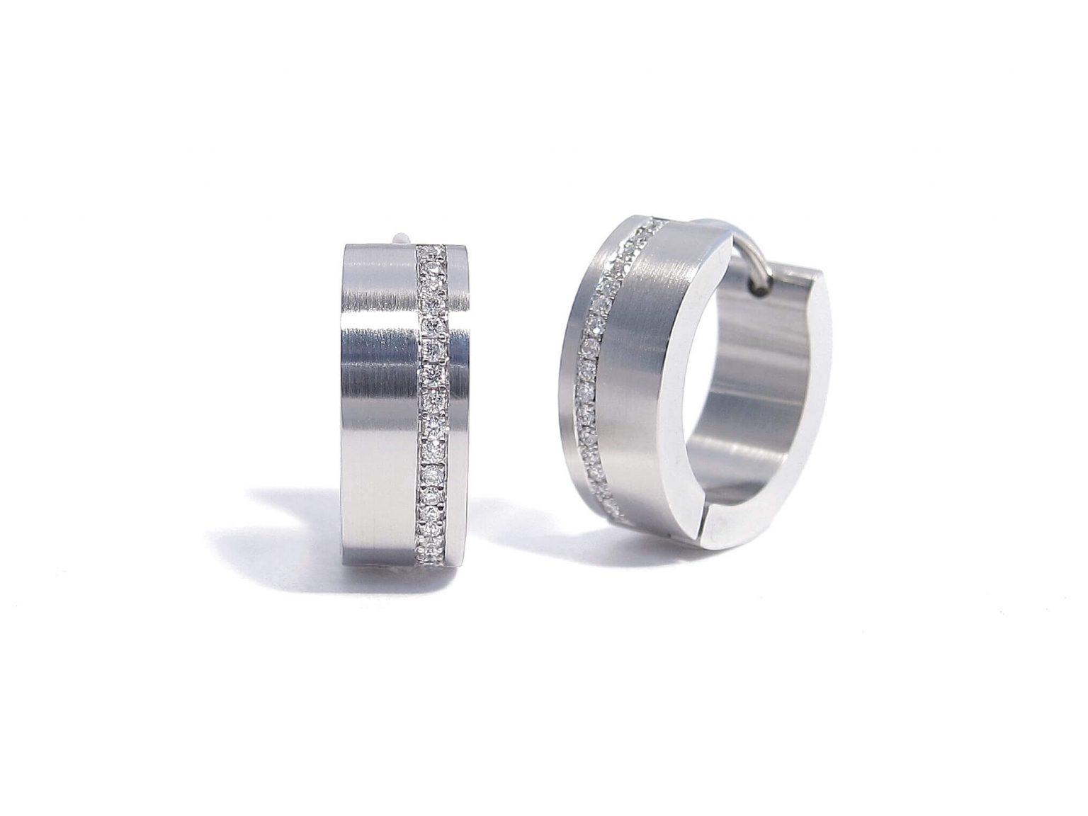steel and diamond earrings