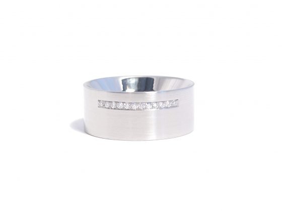 diamond row and steel ring