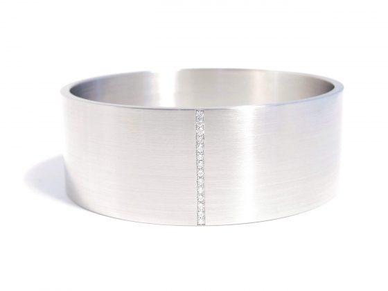 diamond stripe in wide steel bracelet
