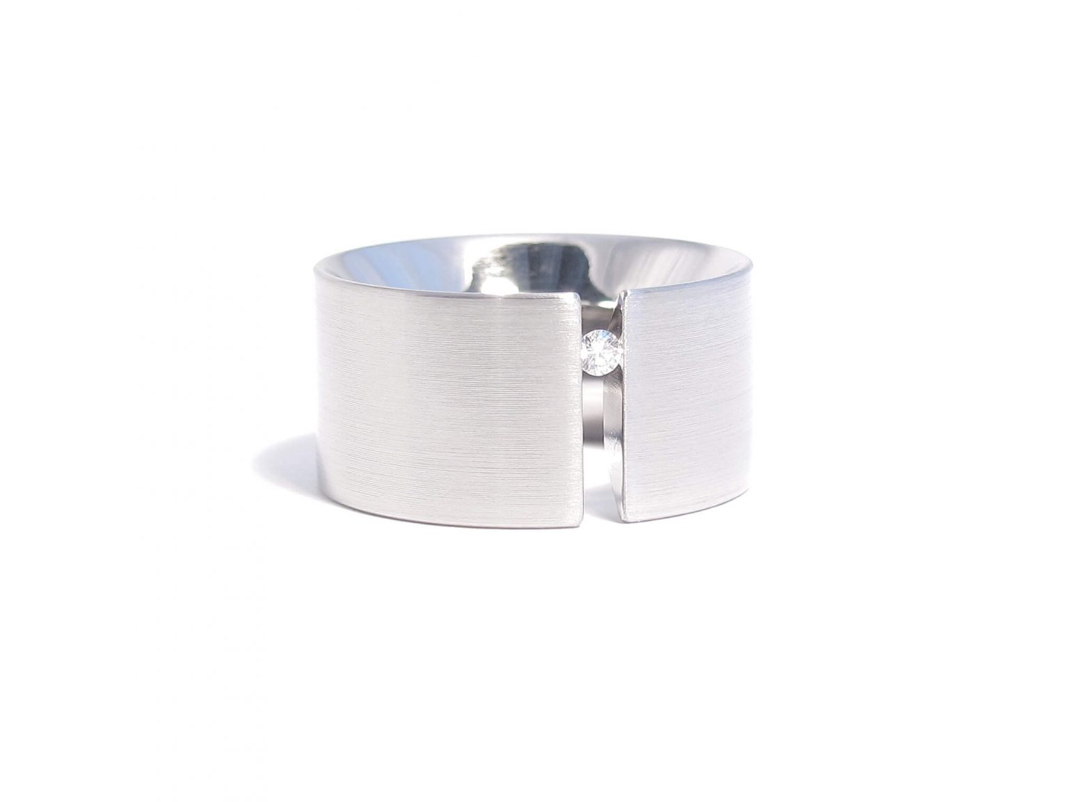 diamond and steel tension ring