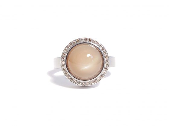 moonstone ring with cognac diamonds