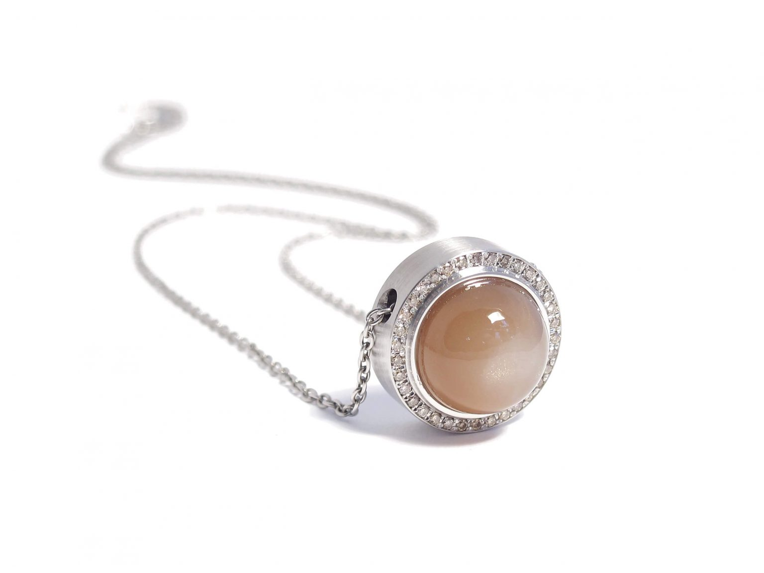 peach moonstone with cognac diamond necklace