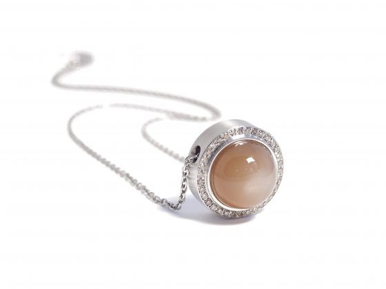 peach moonstone with cognac diamond necklace