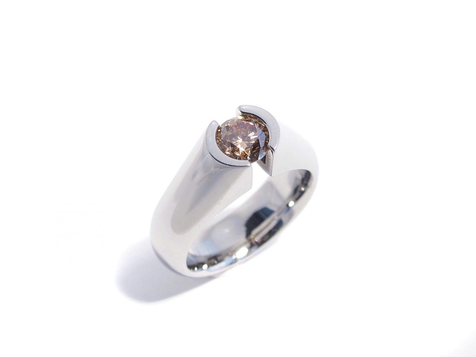 Cognac Diamond Solitaire Tension Ring