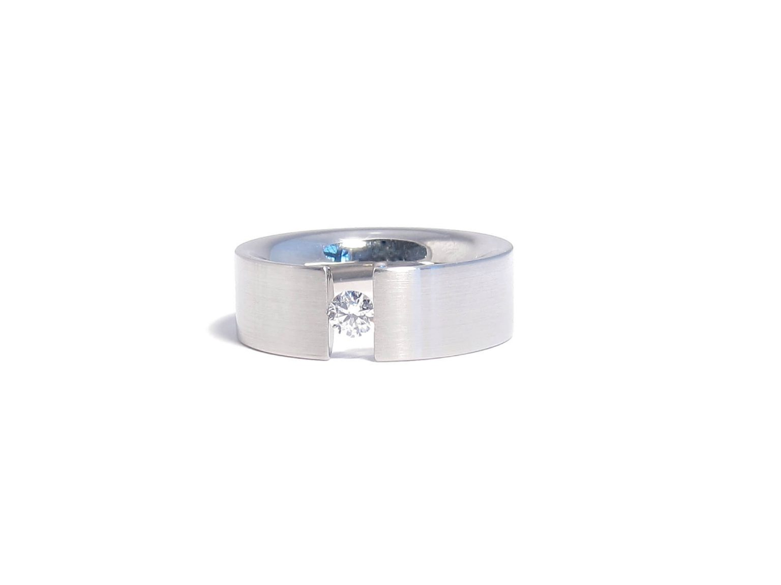 stainless steel and diamond tension ring