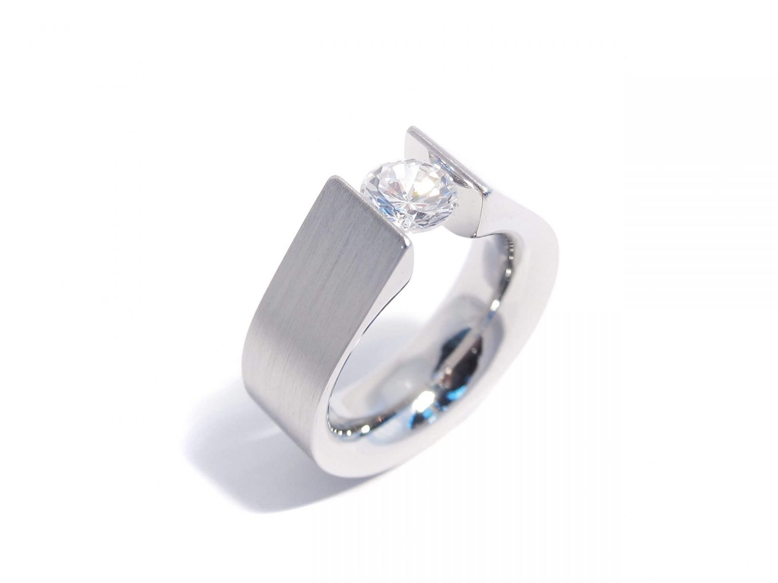 steel and diamond tension ring