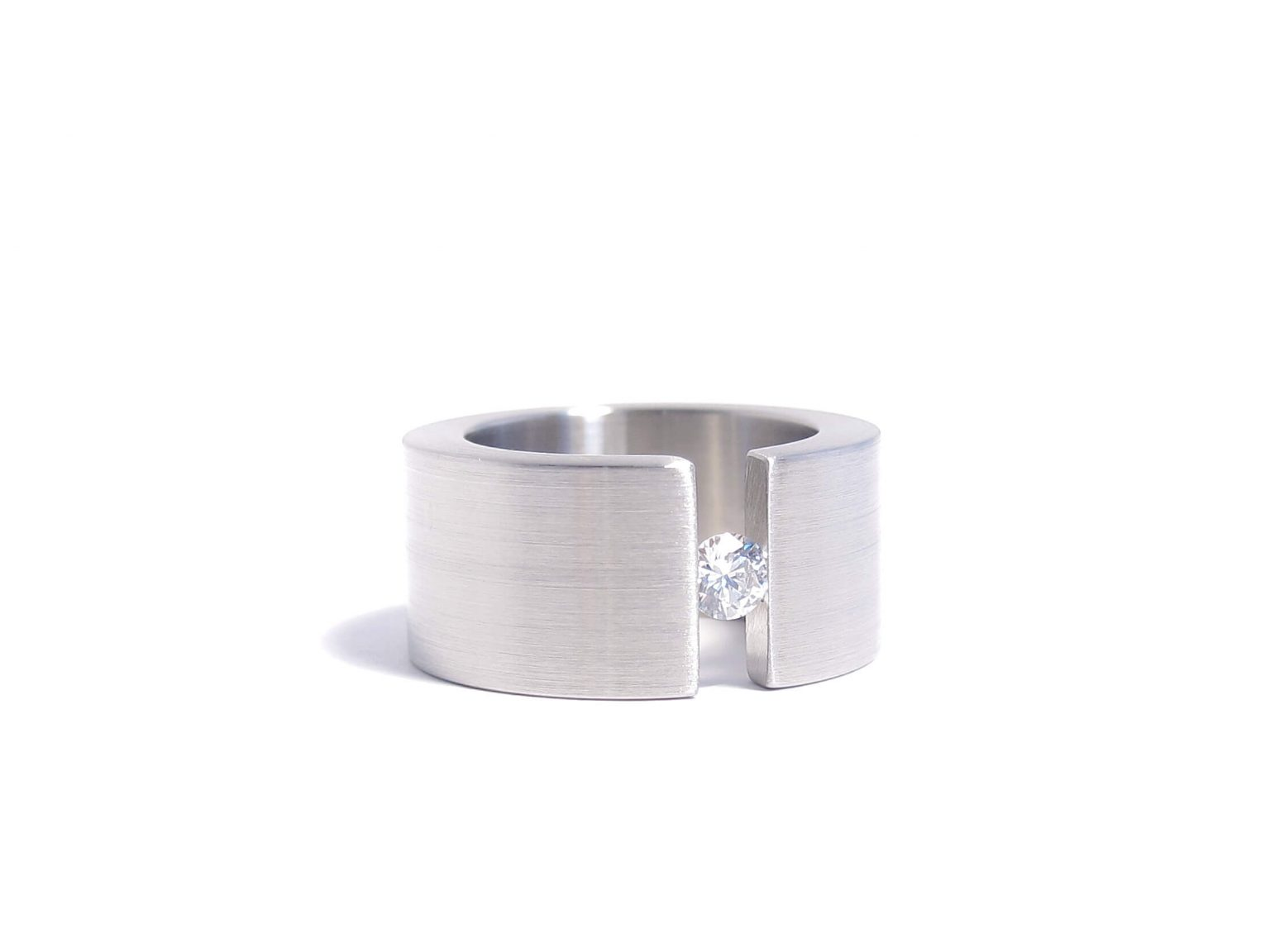 steel and diamond ring
