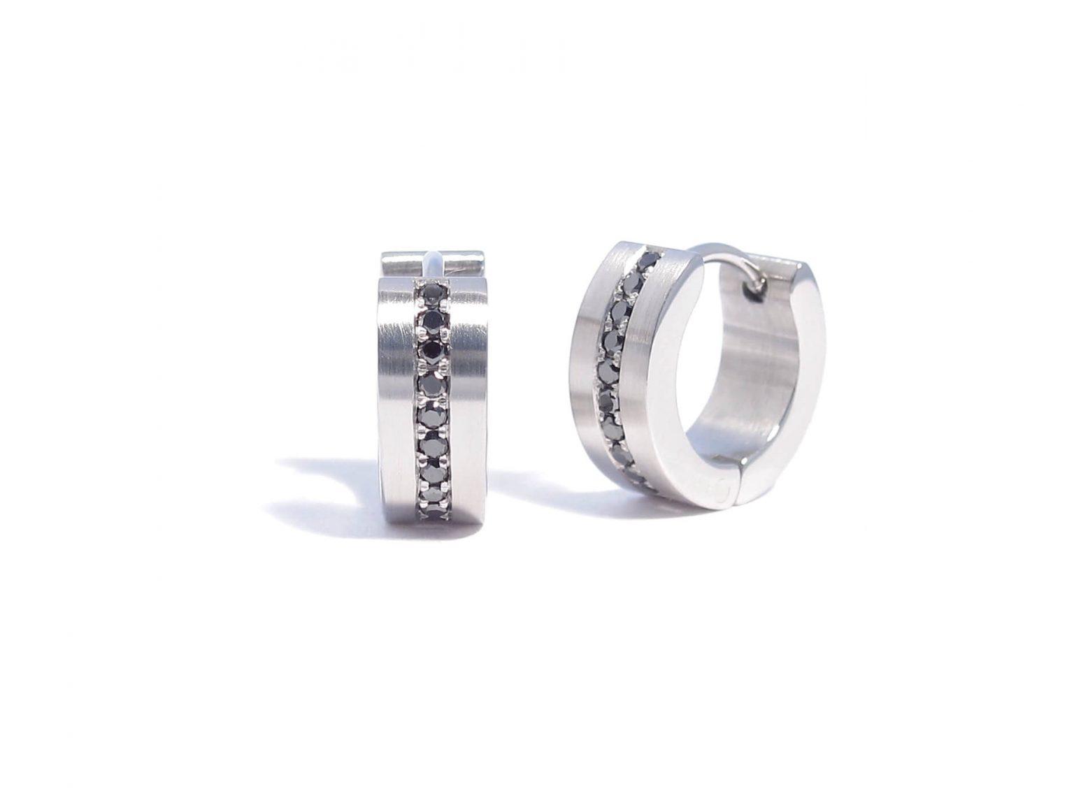 black diamond and steel earrings