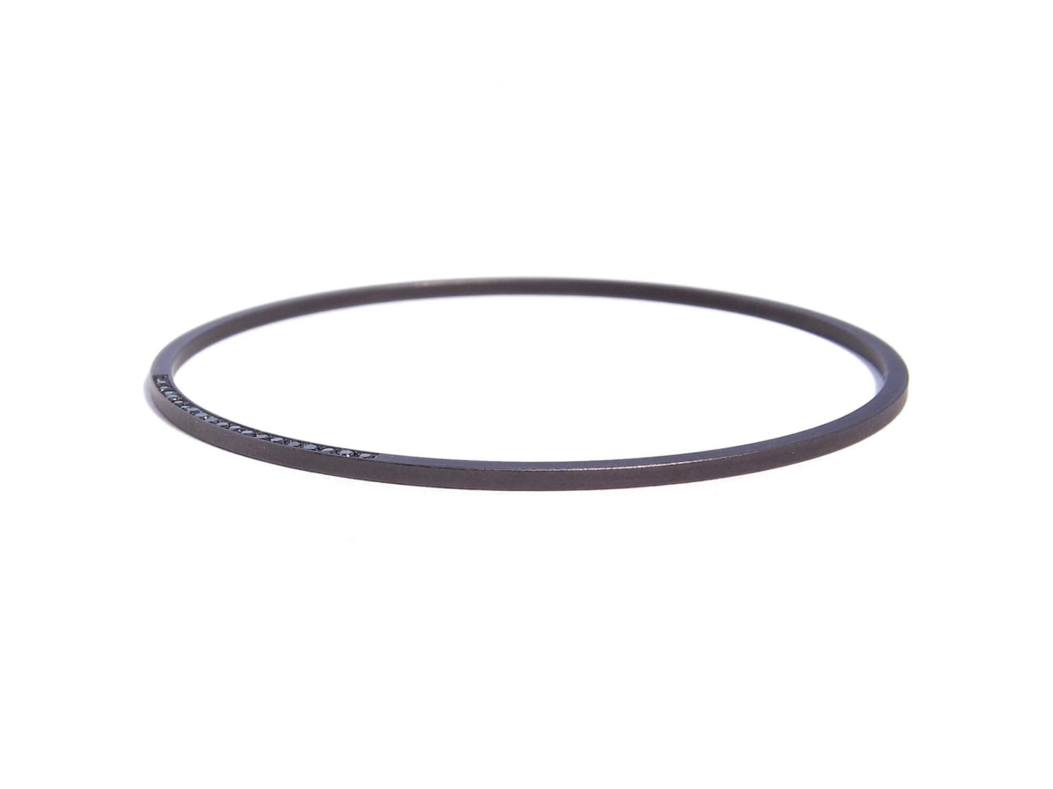 black steel bracelet with black diamonds