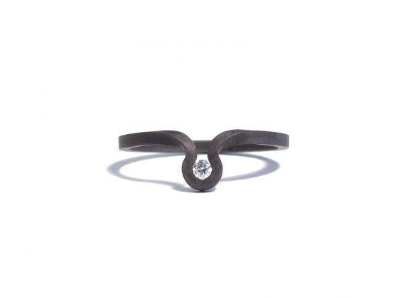 black steel and diamond ring