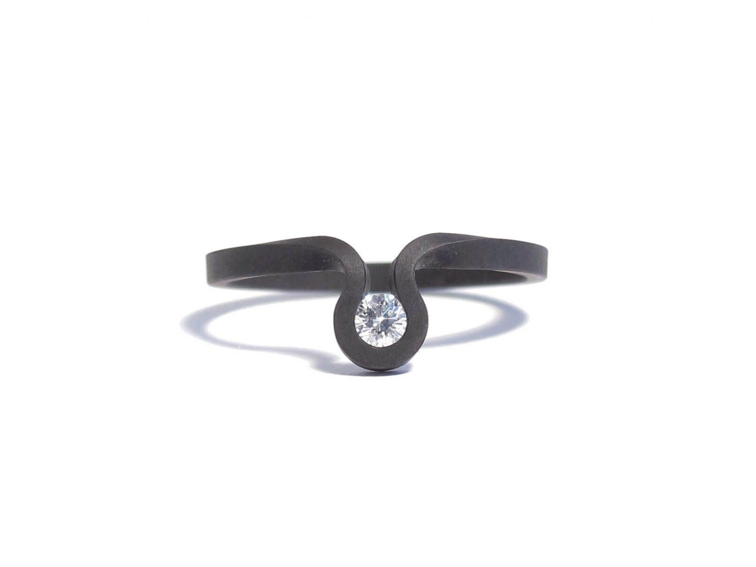 black steel and diamond ring
