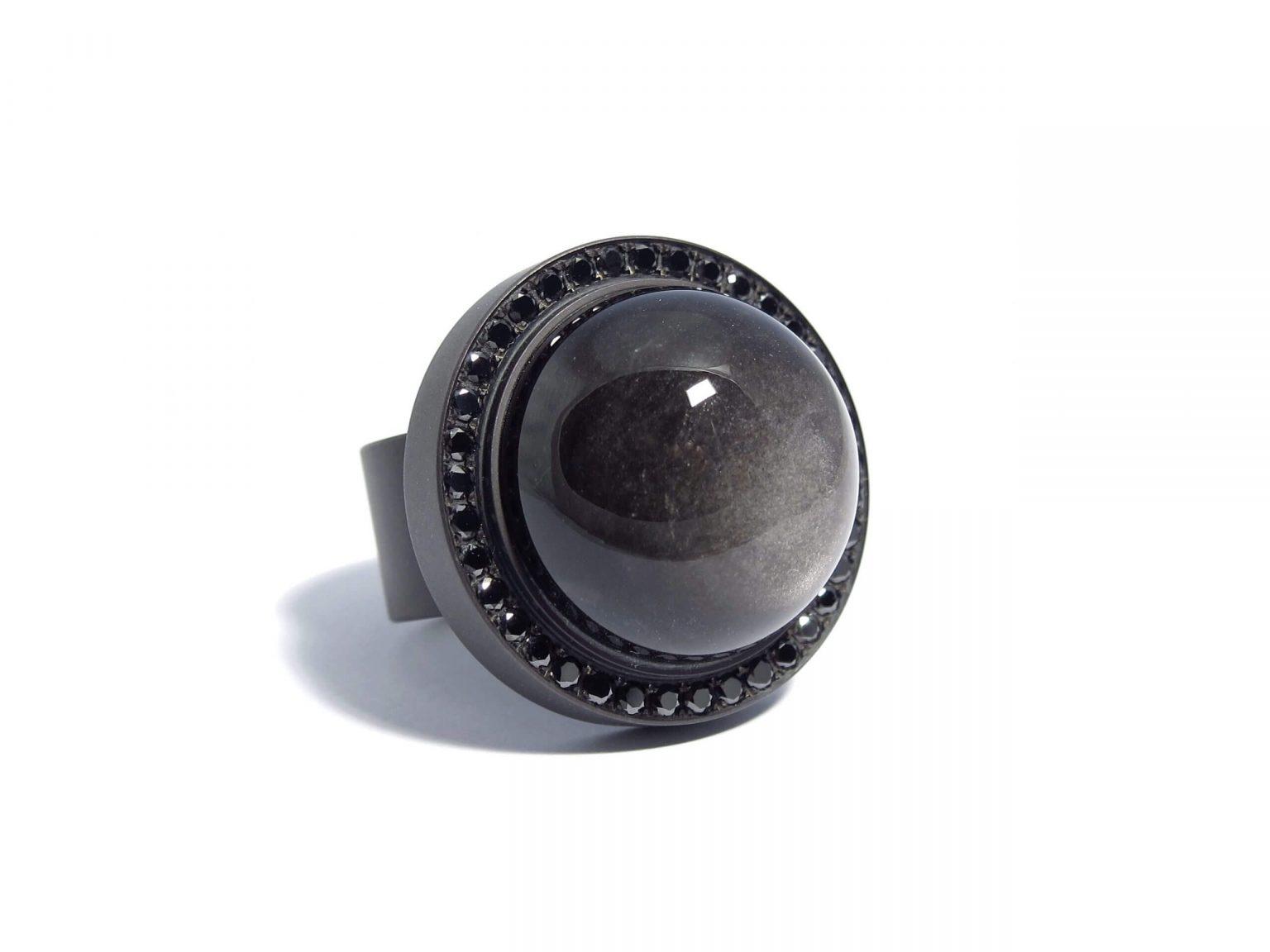 obsidian and black diamond ring