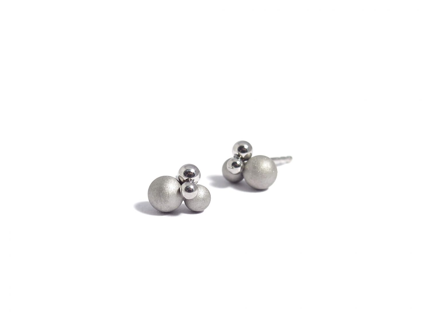 matte and polished sphere earstuds