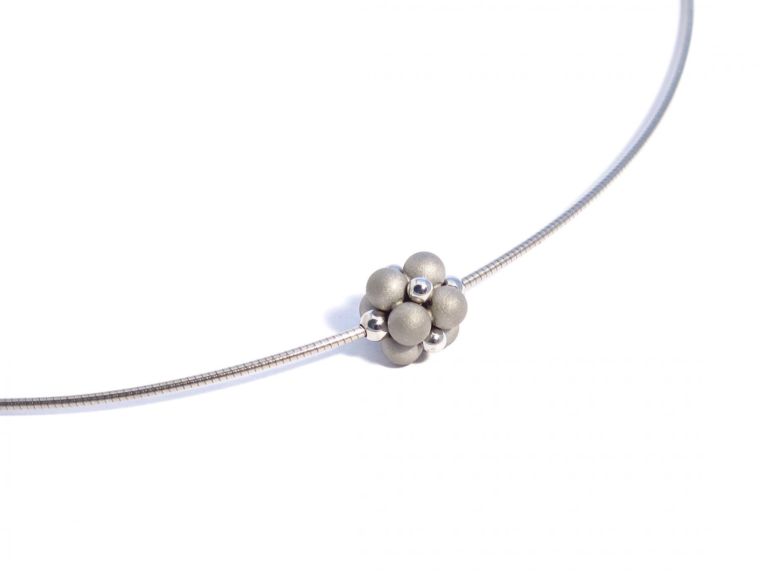 matte and polished sphere necklace